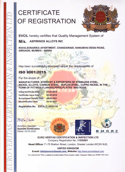 ISO Certification of Aspirinox